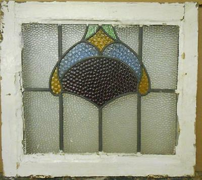"OLD ENGLISH LEADED STAINED GLASS WINDOW Pretty Abstract 27.25"" x 17.75"""