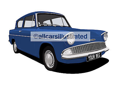 Ford Anglia Car Art Print (Size A3). Personalise It!