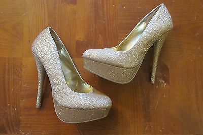d88e87833f2 Charlotte Russe 6 Shoes Gold Metallic Bling High Heels Platform Stiletto  Holiday