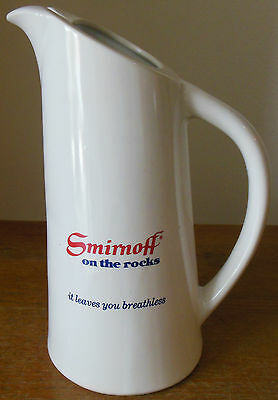 Vintage Smirnoff On The Rocks It Leaves You Breathless Ceramic Pitcher 9""