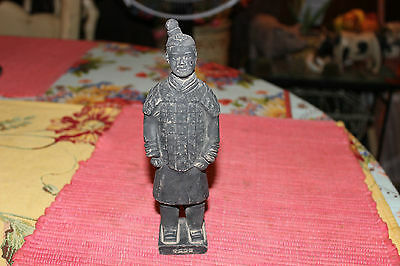 Interesting Chinese Pottery Figure Of Man Guard Soldier-Black Pottery-Signed