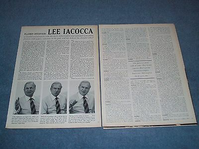 Automotive CEO Lee Iacocca Vintage Interview Article Mustang Ford Chrysler