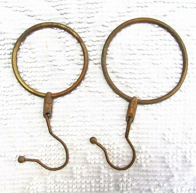 Pair Large Vintage Antique Round Brass Ring Swivel Hooks Steampunk
