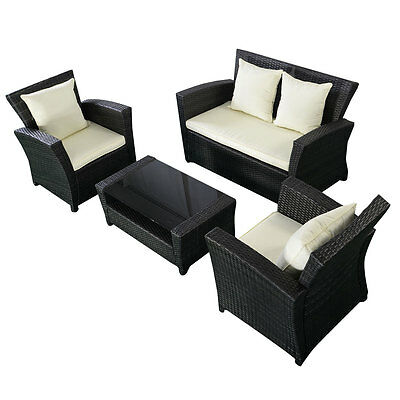 4PC Patio Rattan Sofa Set Outdoor Garden Furniture Wicker Weave Conservatory