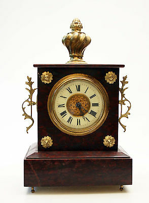 Beautiful Antique French  Clock Red Marble Gilted Ornaments