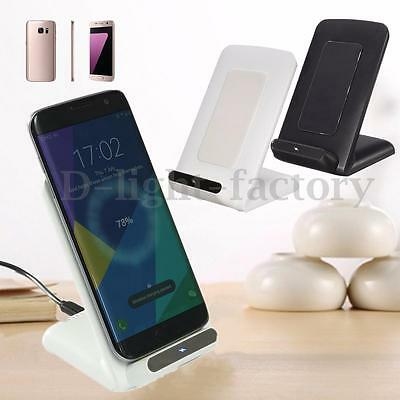 2 Coils Qi Wireless Charger Charging Pad Stand Dock Holder For Samsung S7 Edge