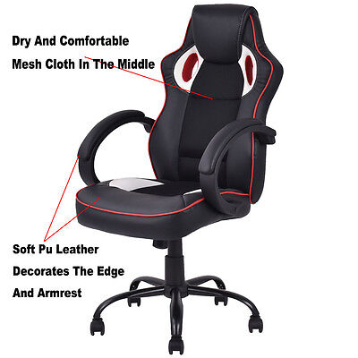 New Medium Back Executive Office Chair Pu Leather Computer Desk Furniture Fds