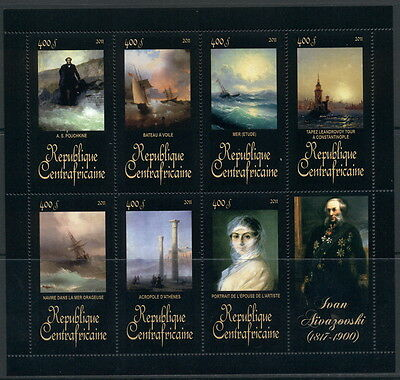 Central Africa Art Russia Paintings Sea Ships Ivan Aivazovsky MNH stamps set