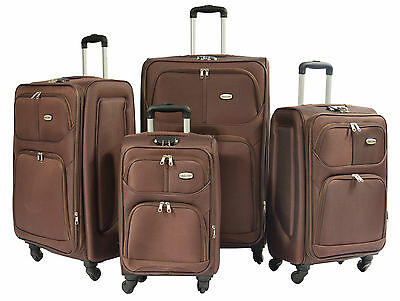 Suitcase Luggage Travel Bags BROWN Lightweight Expandable Soft 4 Wheel Trolley