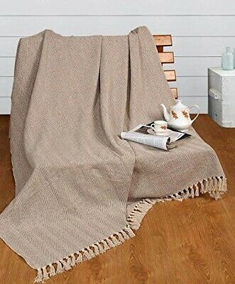 Natural Cotton Herringbone Sofa ArmChair Bedspread Settee Throw+Super Giant Size