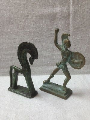 Pair of antique bronze figurines, horse and roman warrior
