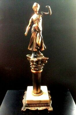 Vintage Bronze On Marble Statue Of Woman -14 Inches Tall