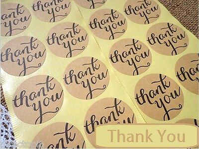 Round Paper Labels 'Thank you' Gift Food Kraft Craft Stickers Seal TY1