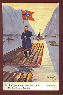 NORWAY ~ WW1 PROPAGANDA PC ~ ARTIST SIGNED dated 1916 French Issue