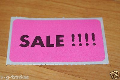 100 PINK Self-Adhesive Sales Price Labels Stickers / Tags Retail Store Supplies