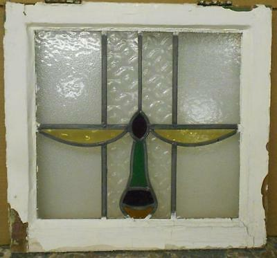 "OLD ENGLISH LEADED STAINED GLASS WINDOW Abstract Design 19.5"" x 18.5"""
