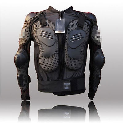 Outdoor Motorcycle Armor Jacket Body Protective Motocross Gear Black & Red N008