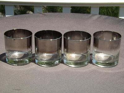 4 Dorothy Thorpe Faded Silver Rim Cocktail Glasses Mid Century Modern