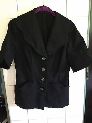 Vintage 1940s 40s Scalloped Black Textured Blouse Jacket Green Deco Buttons