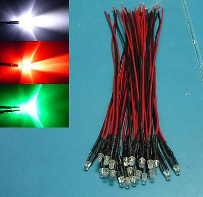 (30 PCS) 3mm FLASHING Mixed Colour Pre Wired LED Light 12V Bulb Red White Green