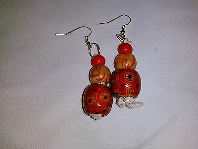 african beaded earings, red and orange