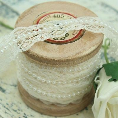 White Lace and Pearl Beaded Trim Ribbon - Vintage Inspired - Bridal, Wedding