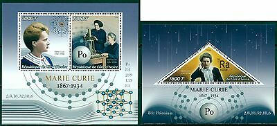 Marie Curie Nobel Prize Science Physics Ivory Coast MNH stamp set 2val + s/s