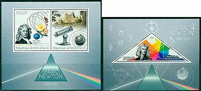 Issac Newton Science Astronomy Space Physics Ivory Coast MNH stamp set 2val +s/s