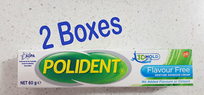 Polident Denture Adhesive Cream Flavour-Free 2 boxes of 60g each