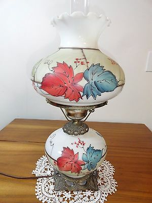 Vintage Gone With The Wind Hurricane Style Nicely Hand Painted Lamp