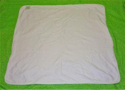 Martha Stewart Everyday BABY BLANKET White with Light Green Plaid Trim Cotton