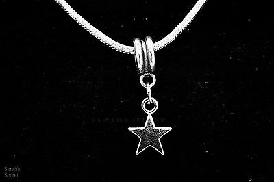 Solid Five-Point Star Pendant Necklace with Sterling Silver Snake Chain #J141