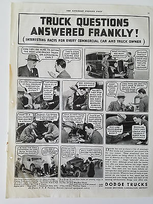 1933 Dodge Trucks Questions Answered Frankly Commercial Car Truck Owners Ad