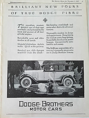 1927 Dodge Brothers Motor Cars Brilliant New Fours Swan Fountain Original Ad