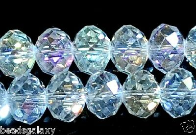 A string  AB clear faceted rondelle glass crystal beads,  6/100pcs , 8, 10/72pcs
