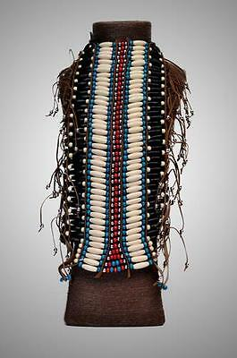 ETHNIC TRIBAL INDIAN NATIVE AMERICAN White Beaded Plastic BREAST PLATE BODYWEAR
