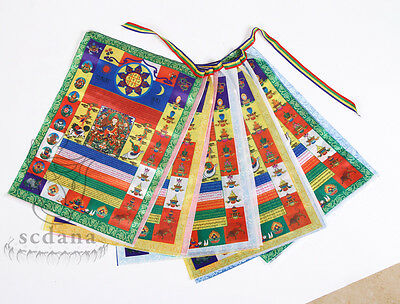 Buddhist Tibetan Prayer Flag 133 Inch Long Large Size Brocade Colorful Flag