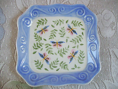 """Hand Painted Porcelain Square 6 1/4"""" Plate Leaves & Bug Andrea by Sadek"""