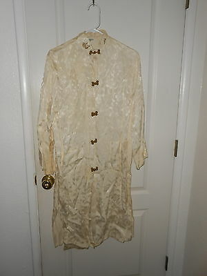 Vintage 1970s Ivory Japanese Gown Dress has Rooster Label & Frog Buttons