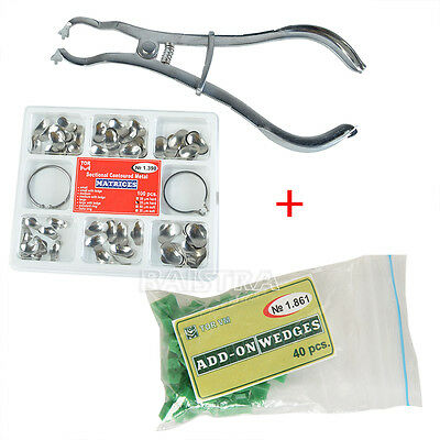 Kit Dental Orthodontic Sectional Contoured Matrices + Plier + Add-On Wedges HOT