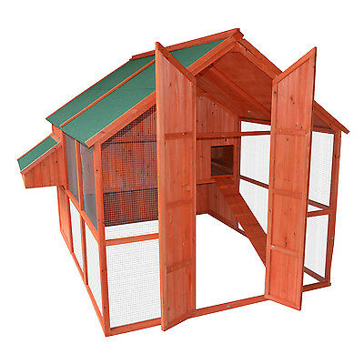 "Pawhut 88"" Deluxe Wooden Chicken Coop Run Cage Poultry Hen Pet House Backyard"