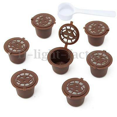 7 x Refillable Reusable Capsules Pods For Nespresso Coffee Machines + Tamp Spoon