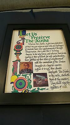 The Kinks Preservation Act 1 And 2 Rare Original Promo Poster Ad Framed!