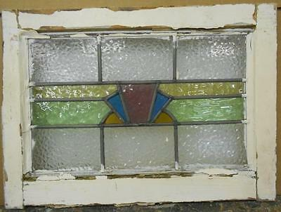 """OLD ENGLISH LEADED STAINED GLASS WINDOW Sweet Geometric Strip 20.5"""" x 14.75"""""""