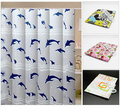 NEW Modern Bathroom Shower Curtain with Ring Hooks 200 x 180 cm Dolphin UK Stock