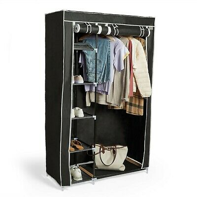 VonHaus Fabric Canvas Double Wardrobe Black Clothes Hanging Rail Storage Shelves