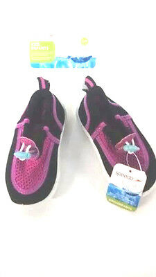 Speedo Girls Toddler Water Shoes Black Pink SMALL 5-6 [F3/C]