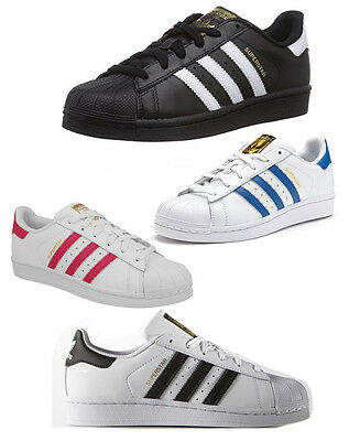 New Adidas Superstar Foundation Leather Trainers Junior Boys Girls Shoes Lace Up
