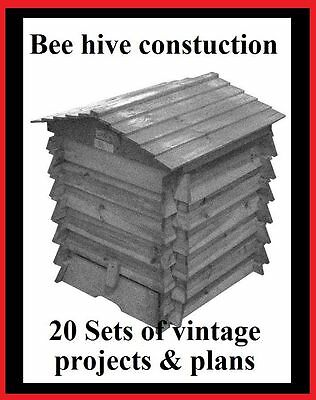 20 Bee Hive construction plans and projects Beekeeping Beehive dvd rom Free P&P