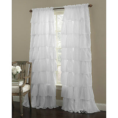 """Two (2) Gypsy Ruffled Sheer Curtain Panels, White, 60"""" wide by 84"""" long"""